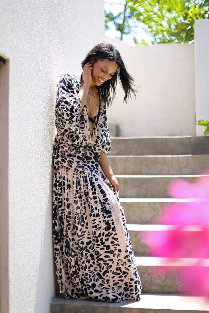 costa rica // deep v printed maxi dress