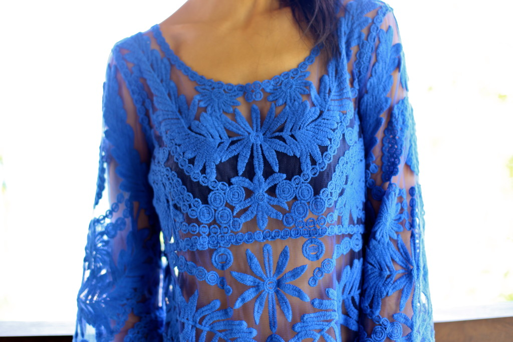 costa rica // blue embroidered cover up