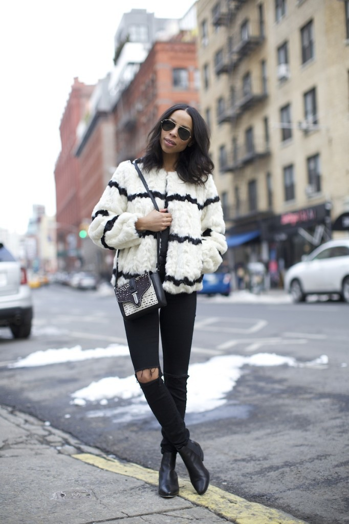 faux fur striped jacket