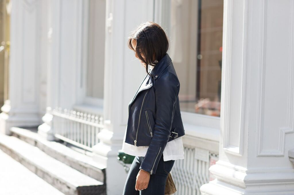 j.crew navy leather jacket