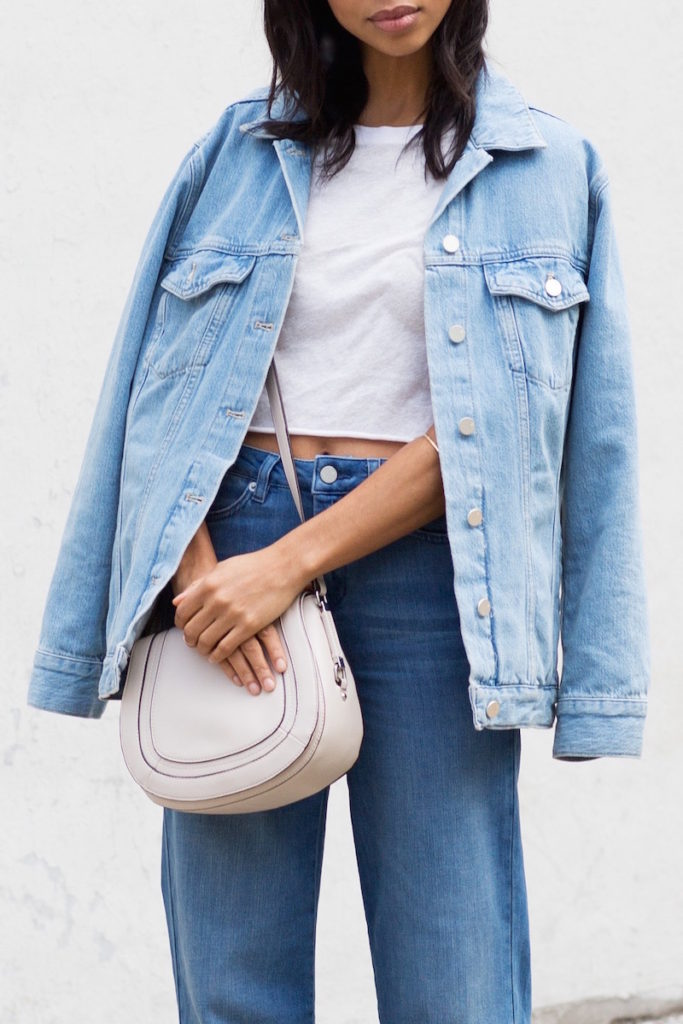 an oversized denim jacket